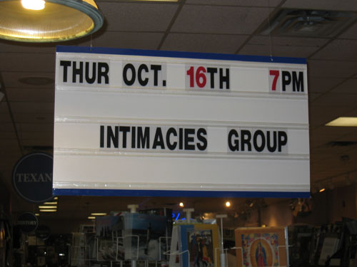 Sign advertising Intimacies Group, Oct 16, 7 pm at BookPeople